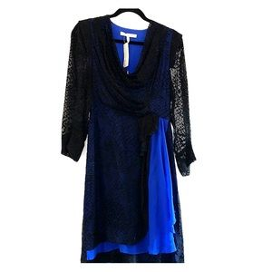 NWT Stunning black w/cobalt blue BCBG runway dress